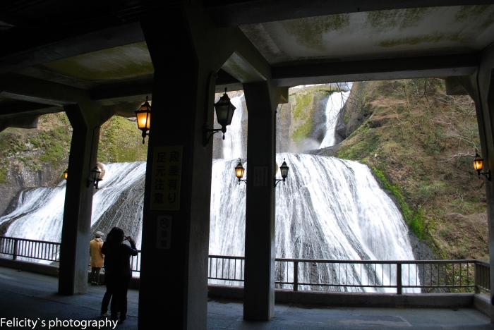 From inside the concrete viewing platform opposite the falls.