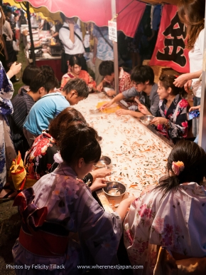 Visiting Tenjin Matsuri? Forget the boats and the fireworks! There are fish to catch!