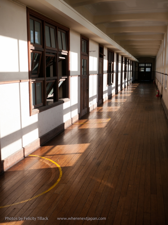 The beautiful, well-preserved hall-ways within the school.