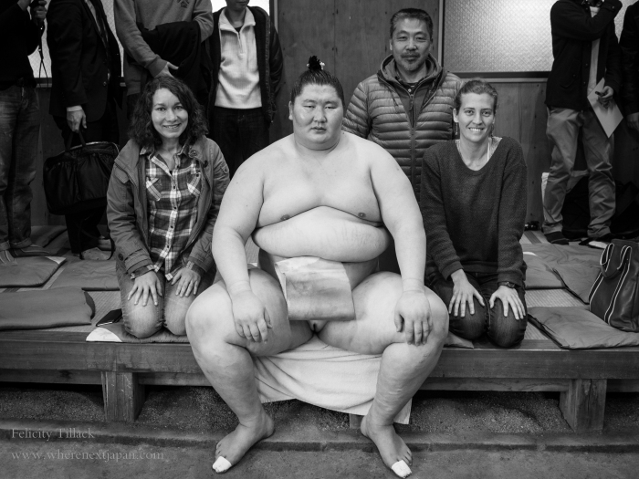 Ichinojo, a high ranking sumo from Mongolia, was the star most people came to see.