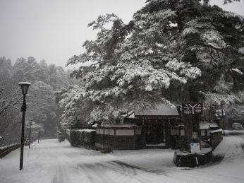 The roads have been cleared, but the snow keeps falling.