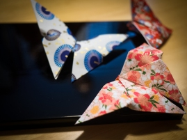 In the evening, an origami teacher taught us how to make butterflies and Mt Fuji.